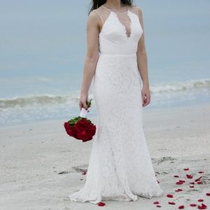 Lulus Amazing Lace Plunge Illusion Wedding Dress